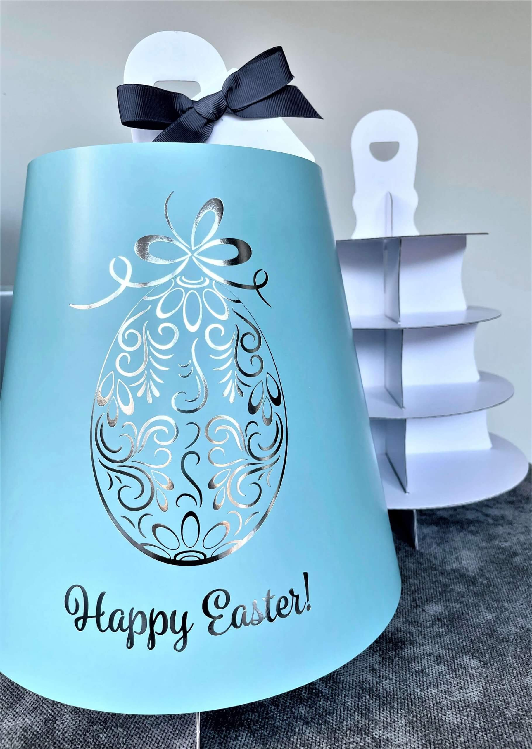 Generic Print (Blue) & Generic Hot Foil Easter 4 Tier Afternoon Tea Caddy